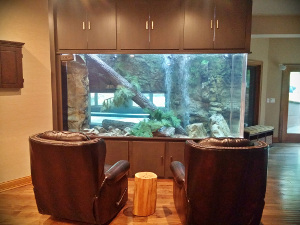 Picture of a custom aquarium with two recliner chairs facing it made by Living Art Aquatics, Inc.
