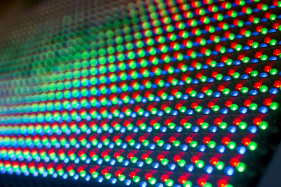 Photo of an array of multicolored LED lights.