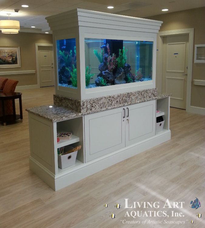 Image of a custom aquarium design with grey cabinet case being used in a commercial retail store.