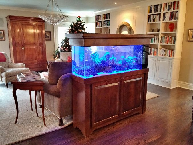 Image of a custom aquarium design in a wood cabinet matching the wood paneling and furniture in the room.