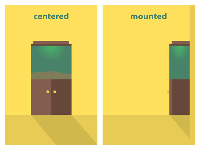 Image of illustrations showing placement of an aquarium in the center of the room and against the wall.