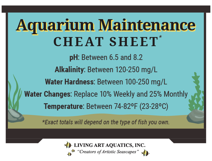 Graphic featuring numbers to keep in mind when performing aquarium maintenance